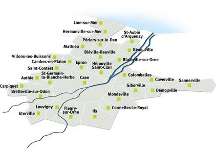 Carte Caen la mer : Villons-les-Buissons, Sannerville, Saint-Germain la Blanche-Herbe, Saint-Contest, Saint-Aubin-d'Arquenay, Périers-sur-le-Dan, Mondeville, Mathieu, Louvigny, Lion-sur-Mer, Ifs, Hérouville-Saint-Clair, Hermanville-sur-Mer, Giberville, Fleury-sur-Orne, Éterville, Épron, Démouville, Cuverville, Cormelles-le-Royal, Colombelles, Carpiquet, Cambes-en-Plaine, Caen, Bretteville-sur-Odon, Blainville-sur-Orne, Biéville-Beuville, Bénouville, Authie