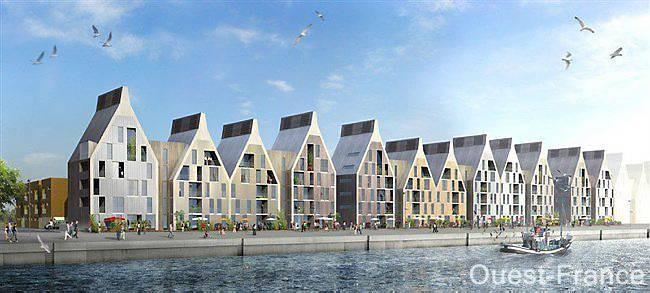 À Dunkerque (Nord), le projet du quartier du Grand Large dessiné par l'agence Agence Nicolas Michelin & associés, qui doit compter à terme entre 800 et 1 000 logements entre la mer et le centre-ville, fait rêver Hérouville-Saint-Clair.