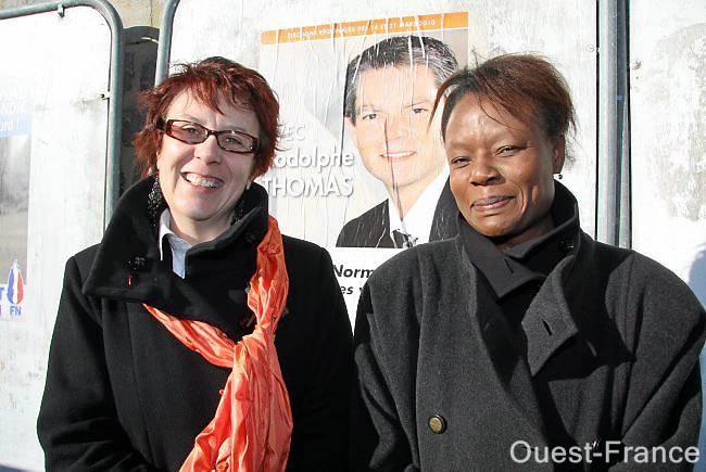 Odile Lecrosnier (à gauche), tête de liste du Modem dans l'Orne avec Sarah Brière, agricultrice à Mantilly, 9e sur la liste ornaise.
